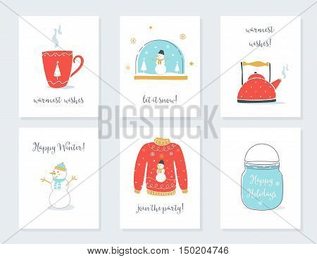 Christmas, New Year and Winter Holidays Cards with Vintage Sentimental Objects. Tea Mug, Snow Globe, Kettle, Sweater, Mason Jar Vector Illustrations.