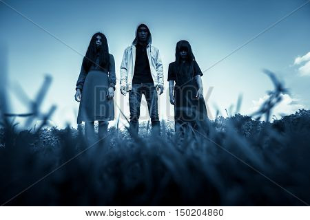 Group of stranger people,Scary background for book cover