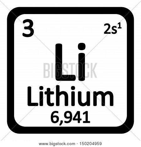 Periodic table element lithium icon on white background. Vector illustration.