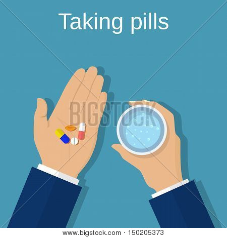 Taking the pills, medical drugs. Man holds in hands the capsule, tablet and a glass of water. Vector illustration flat design. Medical treatment concept. Healthcare.