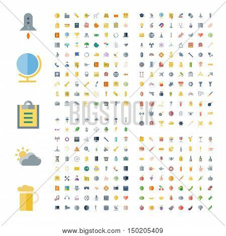Flat design icons for business technology industrial user interface food and drinks. Vector illustration.
