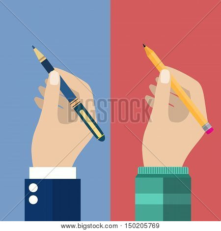 Man holding a pencil and pen for writing. Vector illustration in flat design. Writer, journalist, student. Hand writing man.
