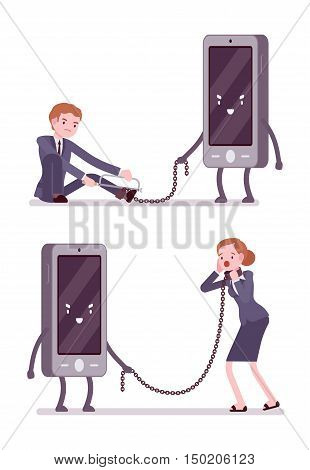 Set of man and woman slaved by smartphone and trying to break the chain with a hacksaw. Cartoon vector flat-style concept illustration