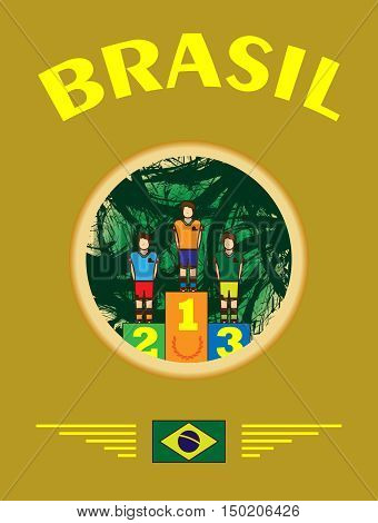 Digital vector, abstract winner sportman brasil champions on stage, first place, flat style