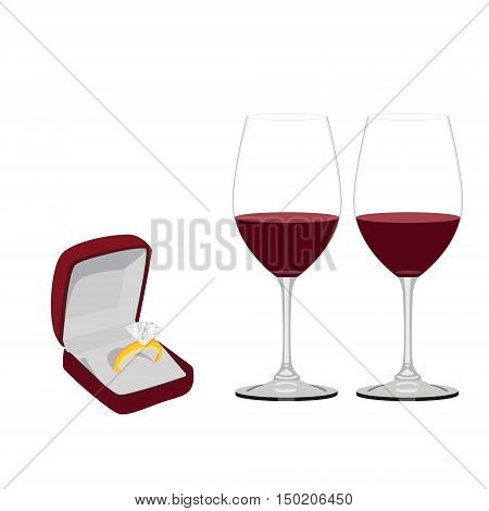 Velvet jewellery opened box with golden wedding ring and two red wine glasses vector isolated on white