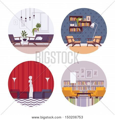 Set of retro interiors with sofa, divan, standing lamp, wallclocks, pictures, statue in a circle. Cartoon vector flat-style illustration