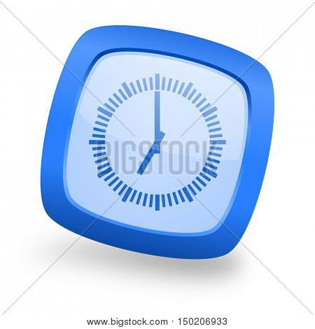 time blue glossy web design icon