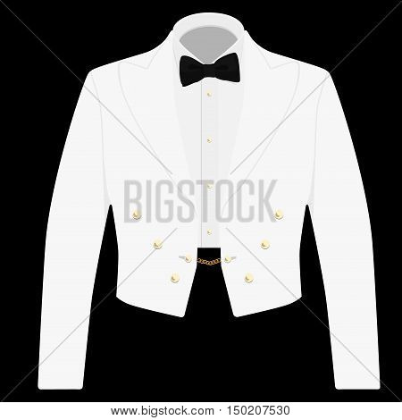 Gentleman white suit with bow tie for offical reception. Elegant formal businessman jacket on black background