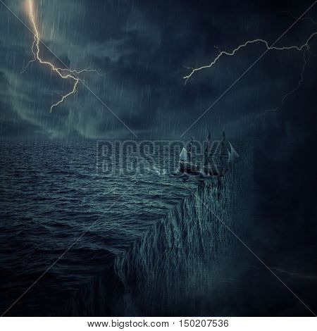 Vintage old ship sailing lost in the ocean in a stormy night with lightnings in the sky. Adventure and journey concept. Parallel universe multiverse theory
