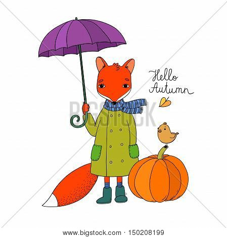 Cute cartoon fox under an umbrella and a small bird on a pumpkin. Autumn theme. Halloween. Hand drawing isolated objects on white background. Vector illustration.