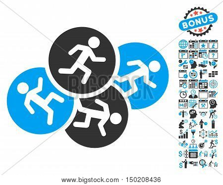 Running Men icon with bonus calendar and time management symbols. Vector illustration style is flat iconic bicolor symbols, blue and gray colors, white background.