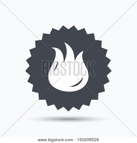 Fire icon. Blazing bonfire flame symbol. Gray star button with flat web icon. Vector