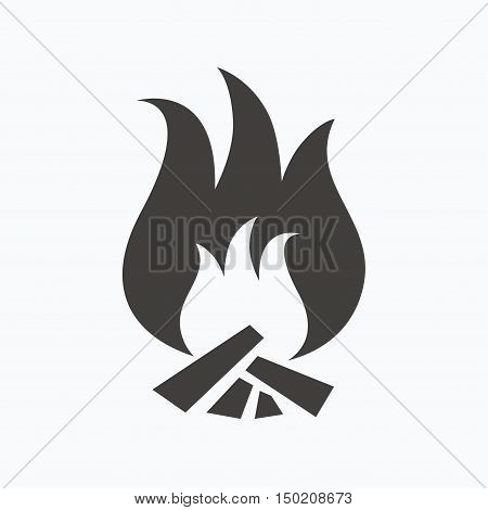 Fire icon. Blazing bonfire flame symbol. Gray flat web icon on white background. Vector