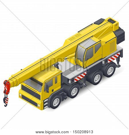 Truck crane isometric detailed icon vector graphic illustration design