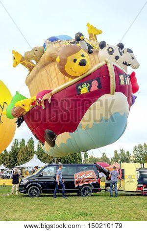 Ferrara Italy 16 September 2016 - giant hot air balloon in the shape of Noah's ark at the Ferrara Balloons Festival 2016