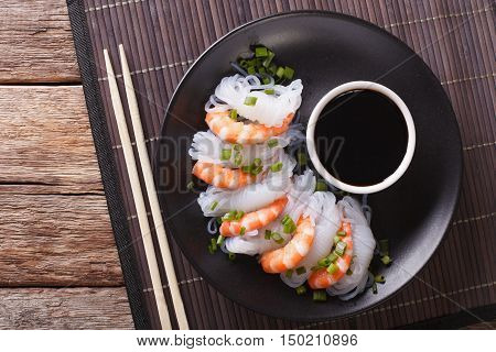 Japanese Food: Shirataki With Prawns, Spring Onions And Soy Sauce Close-up. Horizontal Top View