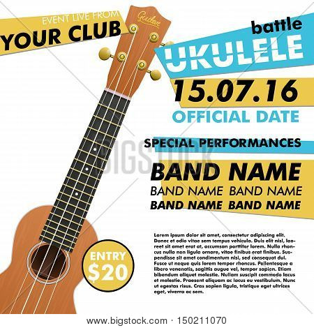 Ukulele show poster for your design ukulele battle live concert acoustic folk music indie music poster ukulele poster music event music performance