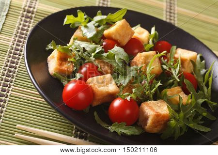 Dietary Food: Fried Tofu With Tomatoes And Fresh Arugula Close-up. Horizontal