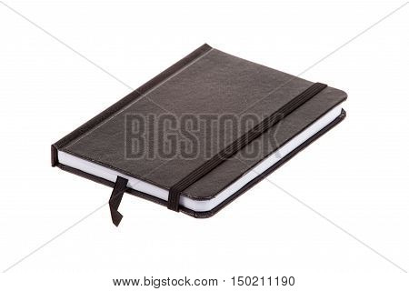 Blank black leather cover notebook isolated on white