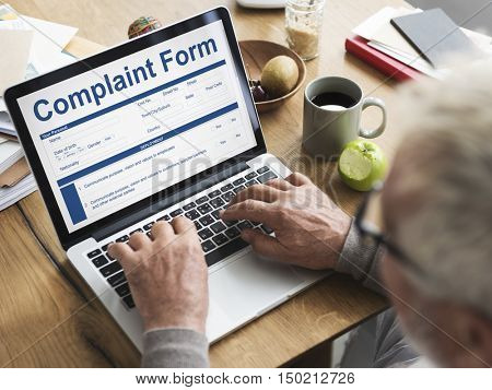 Business Complaint Form Searching Concept