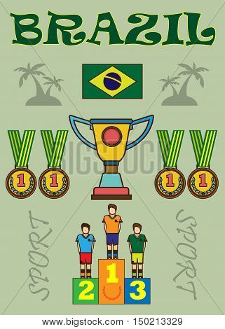 Digital vector brasil sport icons set, flag, cup, medal, flat style