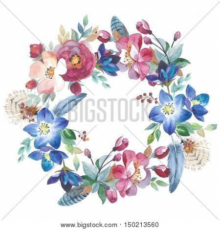 Wildflower rose flower wreath in a watercolor style isolated. Full name of the plant: rose, hulthemia, rosa. Aquarelle flower could be used for background, texture, wrapper pattern, frame or border.