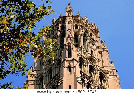 New York City - August 16 2004: Neo-gothic carillon bell tower of Riverside Church on Riverside Drive at West 112th Street