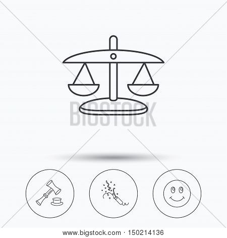 Scales of justice, auction hammer and slapstick icons. Smiling face linear sign. Linear icons in circle buttons. Flat web symbols. Vector