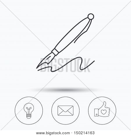 Mail, heart and lightbulb icons. Pen linear sign. Linear icons in circle buttons. Flat web symbols. Vector