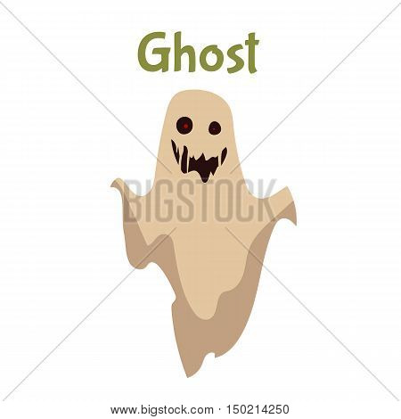 Scary ghost, Halloween costume idea, cartoon style illustration isolated on white background. Frightening red-eye ghost, traditional symbol of Halloween