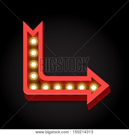 Retro arrow with large lamps. Neon lights. Volumetric 3D boom frame with glowing lights and black empty prostranstovm. Index on a black background. Vintage red arrow. illustration