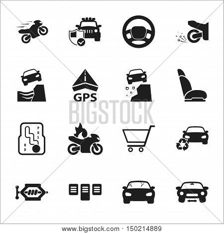 car, accident 16 black simple icons set for web design