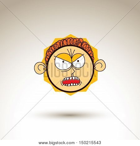 Vector Artistic Colorful Drawing Of Furious Person Face, Communication And Social Network Design Ele