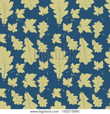 Floral seamless pattern with green maple and oak leaves on blue. Autumn background with grunge foliage petals for wrapping paper. Vector illustration.