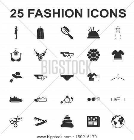 beauty, shopping, fashion 25 black simple icon set for web design