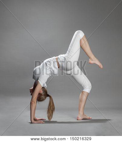 Young Beautiful Blonde Woman Doing Yoga