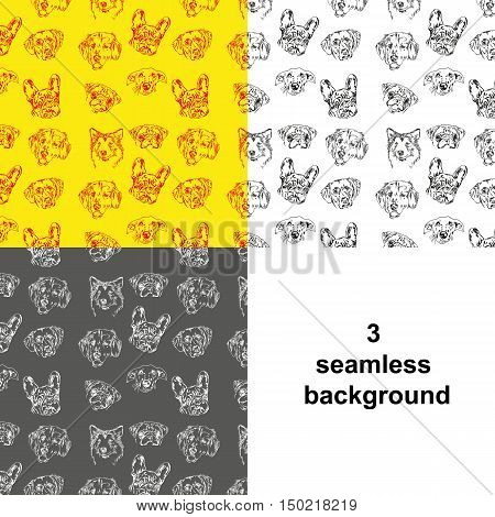 Vector illustration of different dog breeds as a seamless background