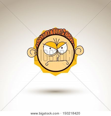 Vector Artistic Colorful Drawing Of Angry Person Face, Communication And Social Network Design Eleme