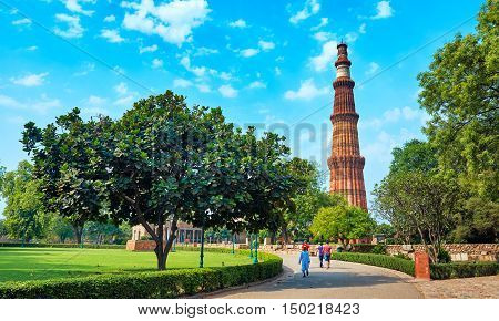 DELHI,INDIA-APRIL 29,2015: The tallest brick minaret in the world Qutub Minar