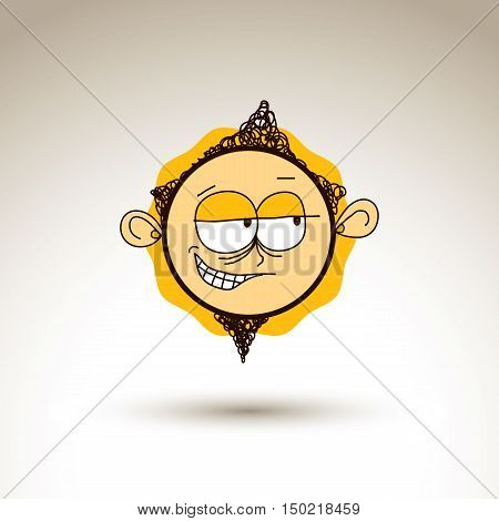 Vector Colorful Hand Drawn Illustration Of Tricky Cartoon Boy Isolated On White Background, Simple D