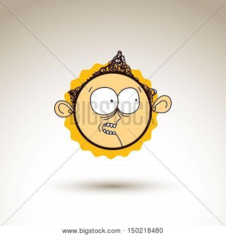 Vector Hand Drawn Curious Cartoon Boy. Web Avatar Theme Graphic Design Element Isolated On White. So