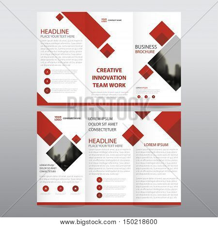 Red square business trifold Leaflet Brochure Flyer report template vector minimal flat design set abstract three fold presentation layout templates a4 size