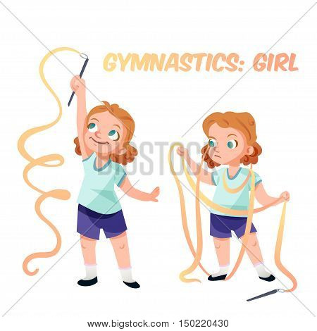 Little kid girl doing exercises in gymnastics with ribbon confused in process. Isolated female child in funny cartoon style. Children sport illustration.