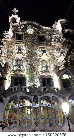 Barcelona, Spain - June 24, 2016: Illuminated facade of Casa Batllo at night