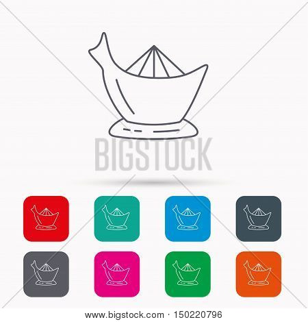Juicer icon. Squeezer sign. Kitchen electric tool symbol. Linear icons in squares on white background. Flat web symbols. Vector
