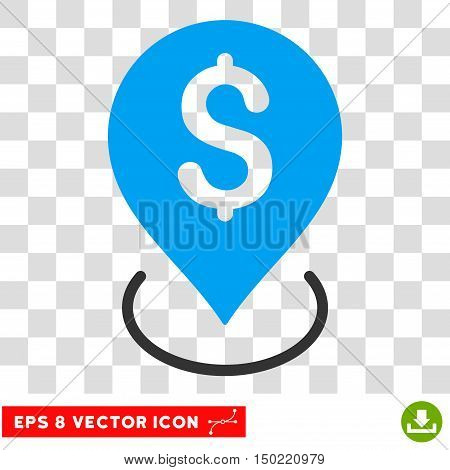 Bank Placement vector icon. Image style is a flat blue and gray icon symbol.