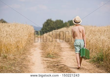 Back view on cute kid boy in straw hat walking along countryside road and holding retro suitcase on sunny summer day. Barefooted Child in the golden wheat field. Lifestyle concept