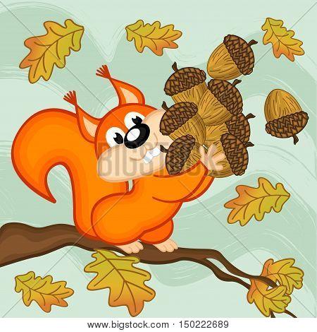 squirrel gathers acorns - vector illustration, eps