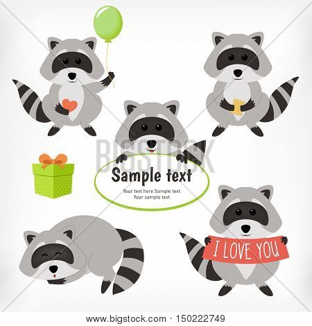 Raccoon set with standing raccoon with balloon raccoon with cookie sleeping raccoon and raccoon with text: i love you and sample text. Vector illustration cartoon.