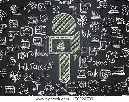 News concept: Chalk Green Microphone icon on School board background with  Hand Drawn News Icons, School Board